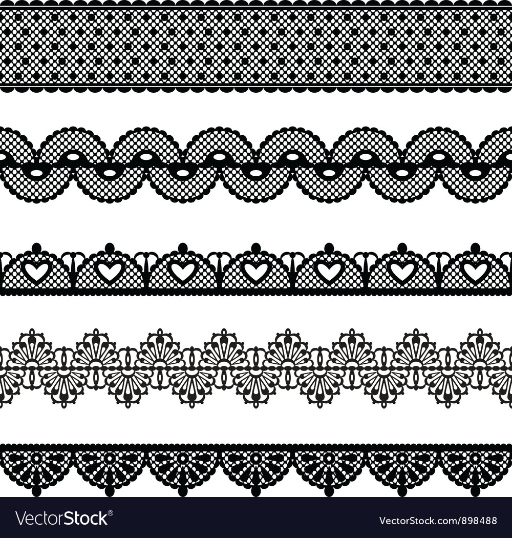 Seamless lace set vector