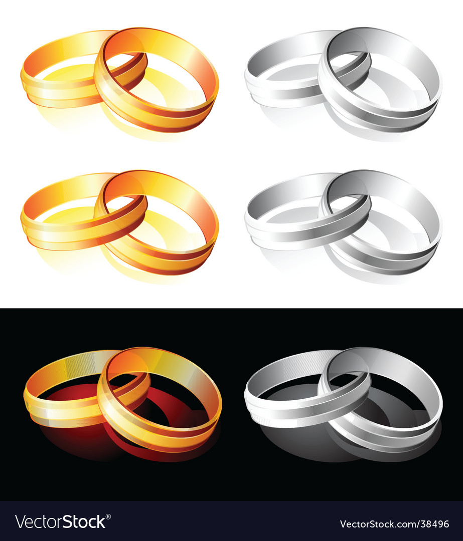 Wedding gold and silver rings vector