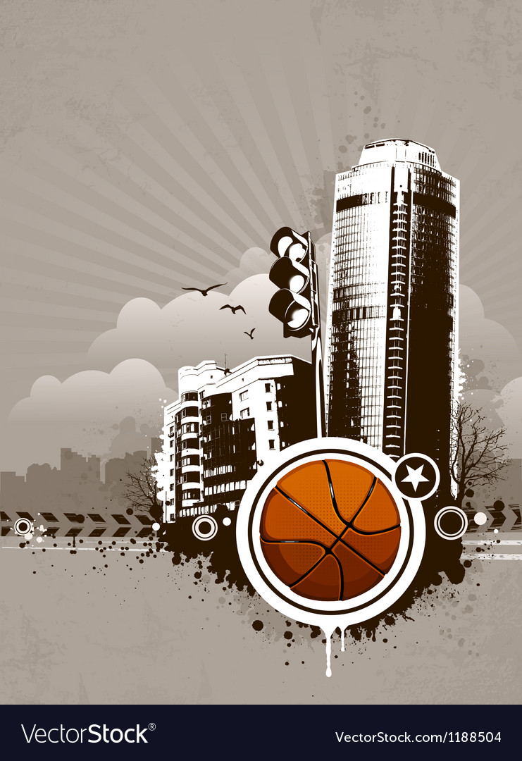 Grunge urban basketball background vector