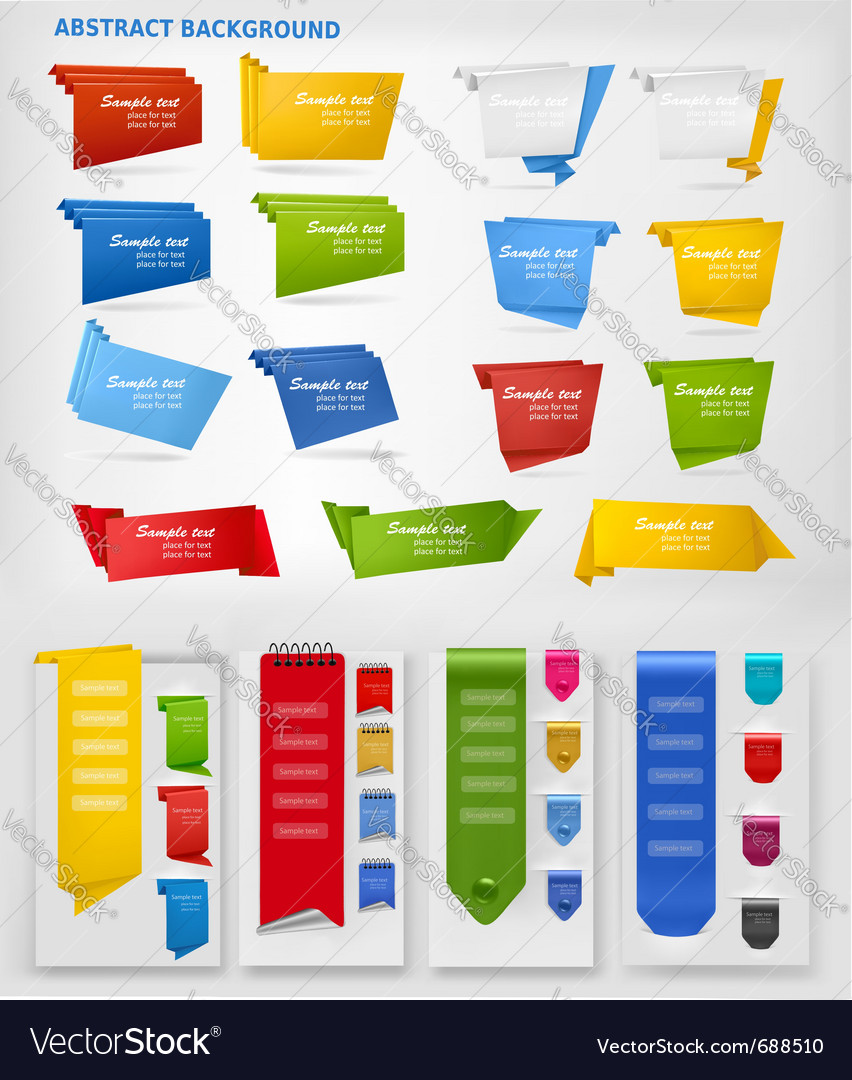 Big collection of colorful origami paper banners vector
