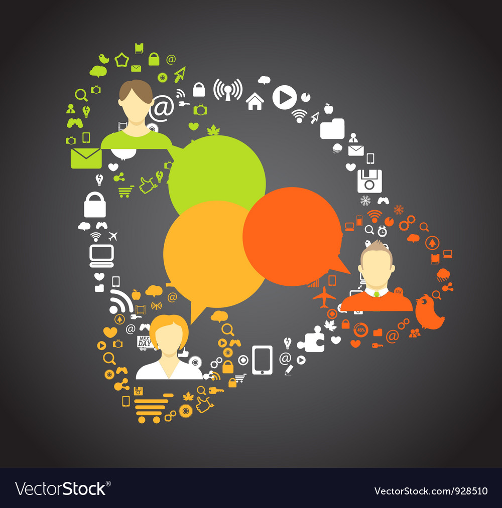 People media connections abstract scheme vector