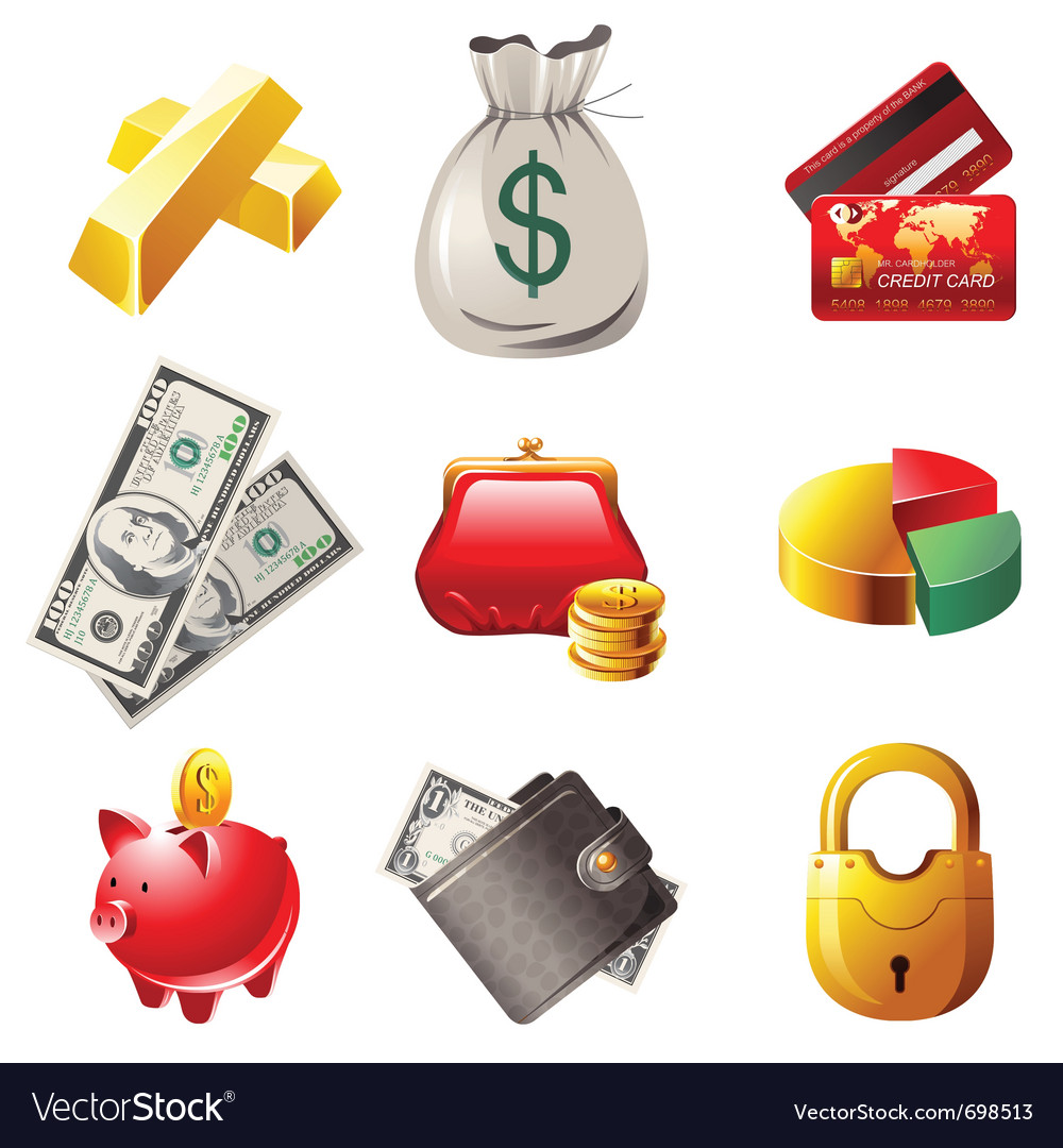 9 highly detailed money icons vector