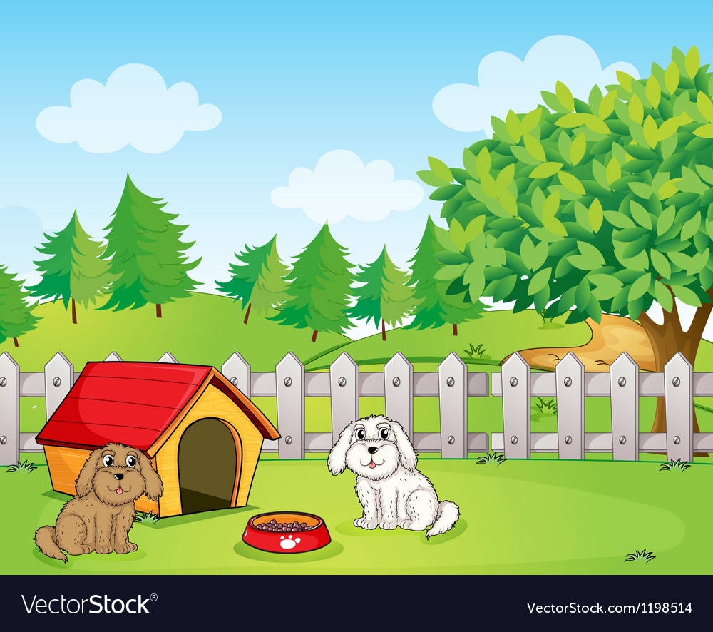 A doghouse inside the wooden fence near the hill vector