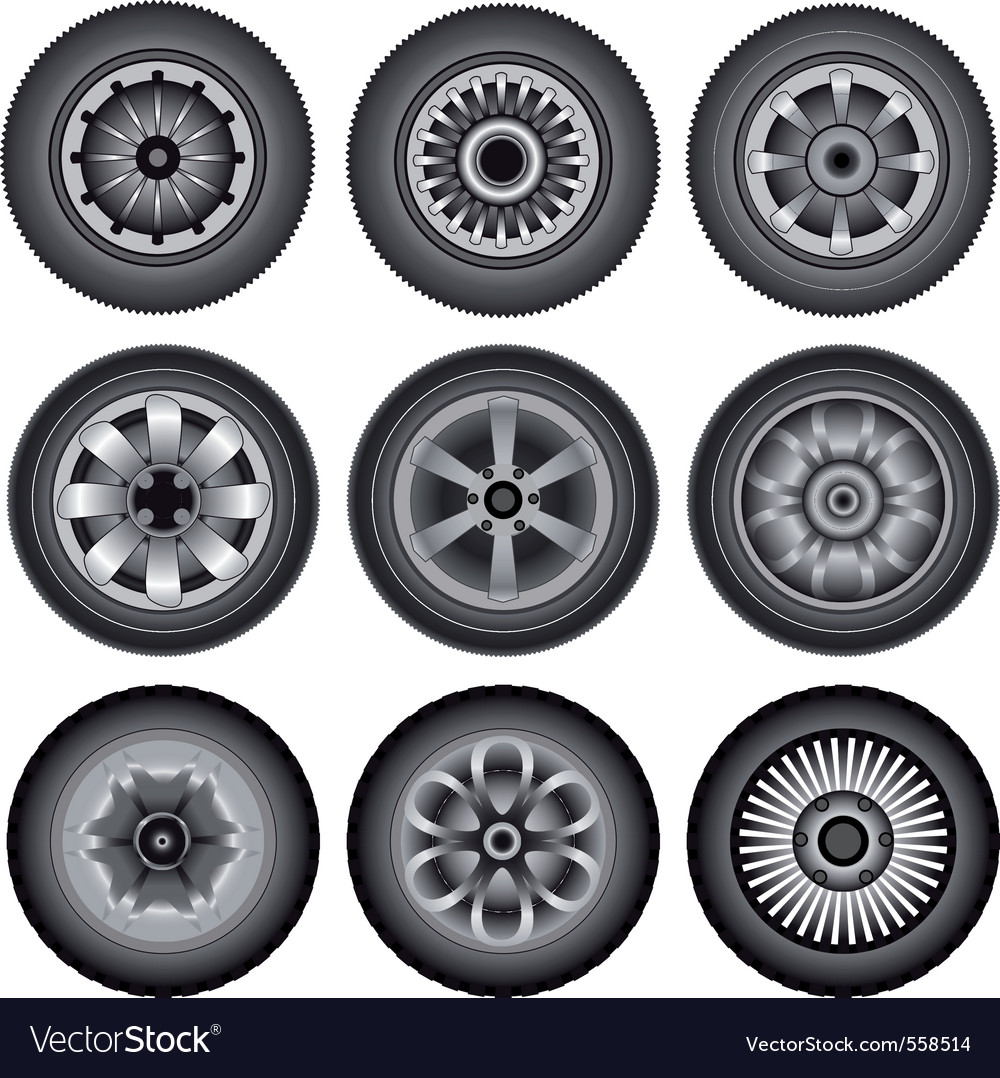 Automobile wheels vector