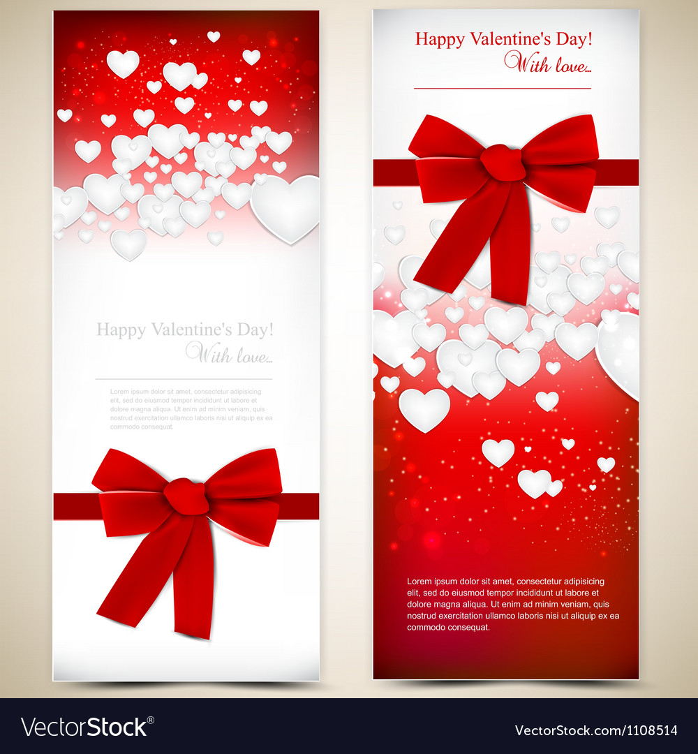 Beautiful greeting cards with white paper hearts vector