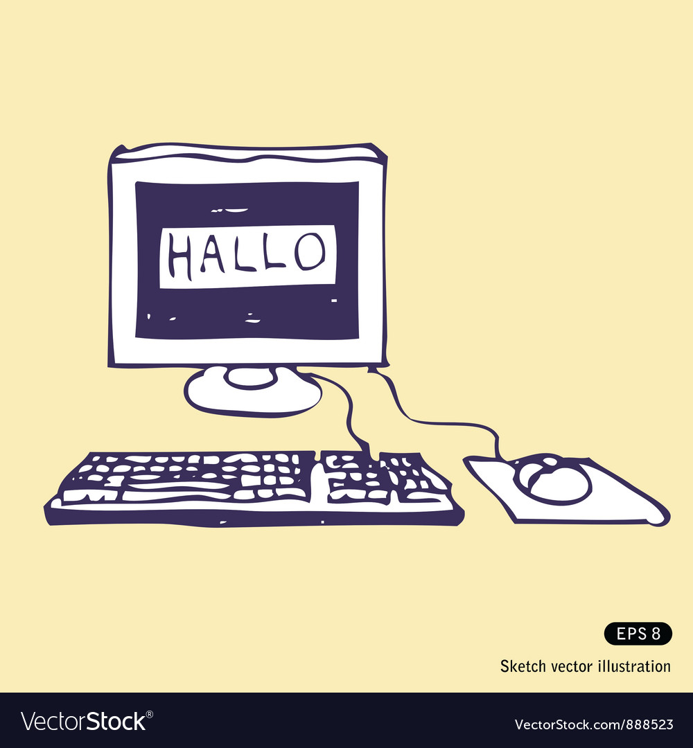 Computer says hallo vector