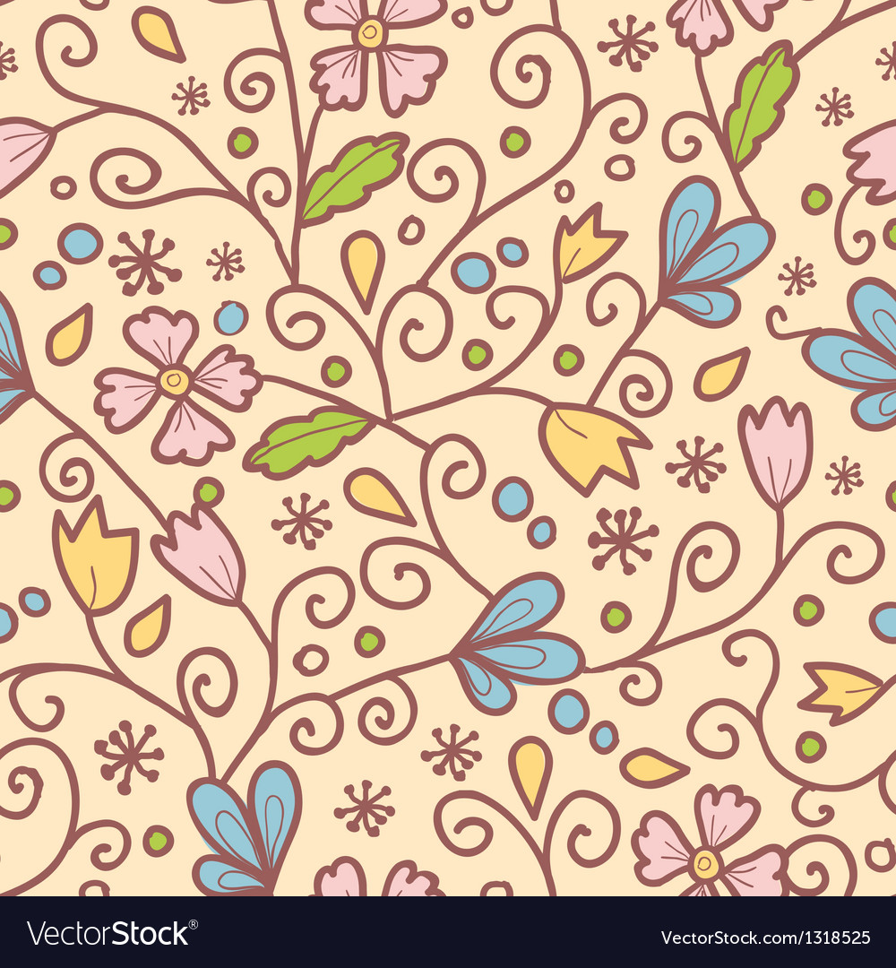 Flowers and leaves seamless pattern background vector