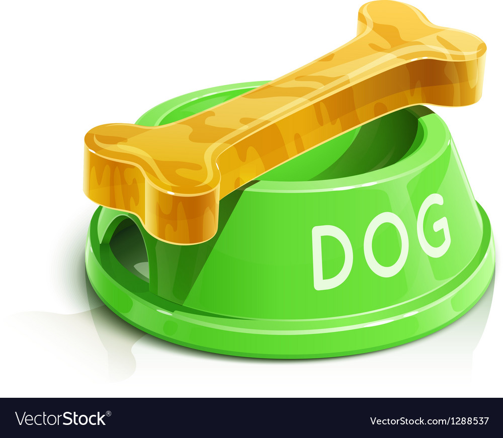 Bowl with bone for dog vector