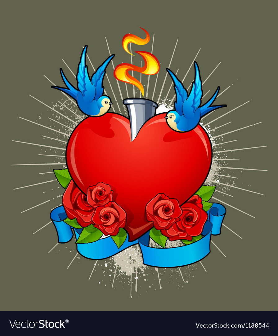Heart with birds vector