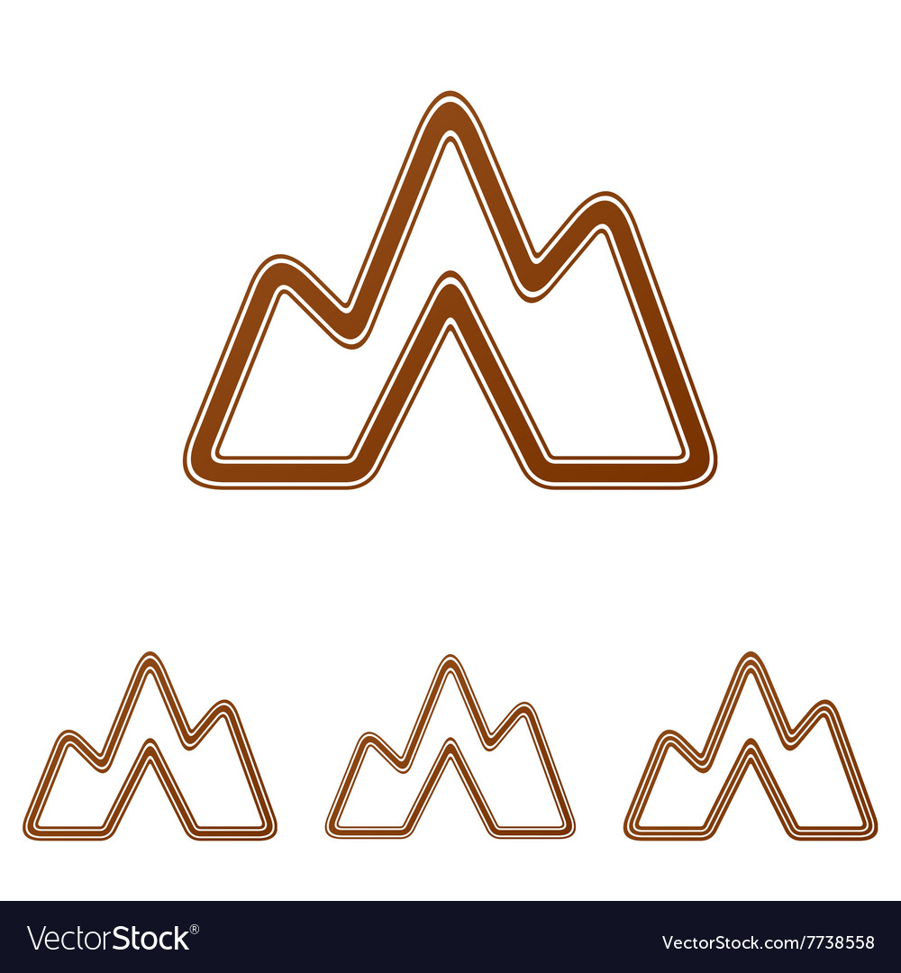 Brown line landscape logo design set
