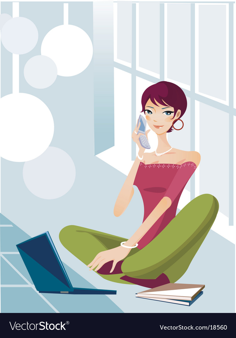 Technology lifestyle girl vector