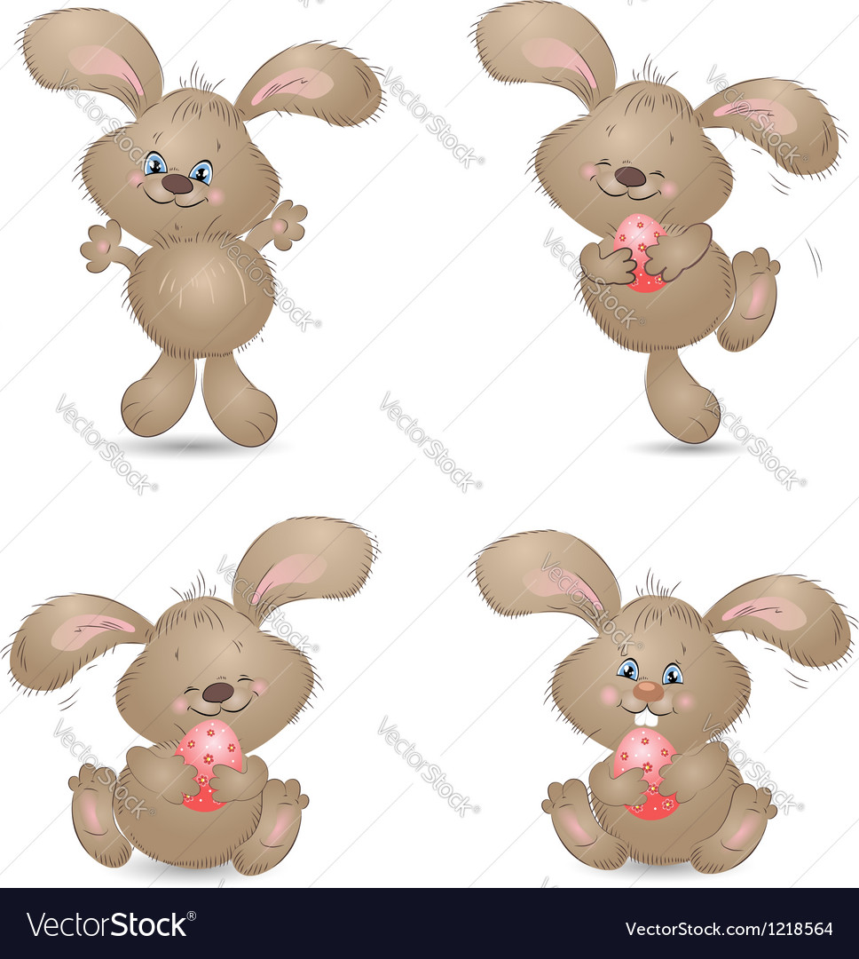 Aester rabbit set vector