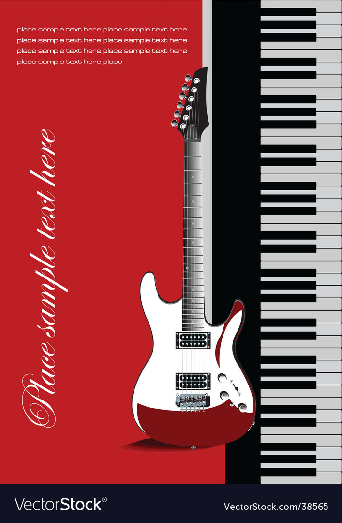 Piano with guitar vector