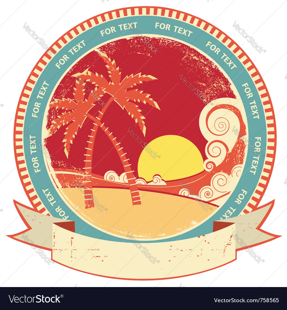 Sea waves and island vintage vector