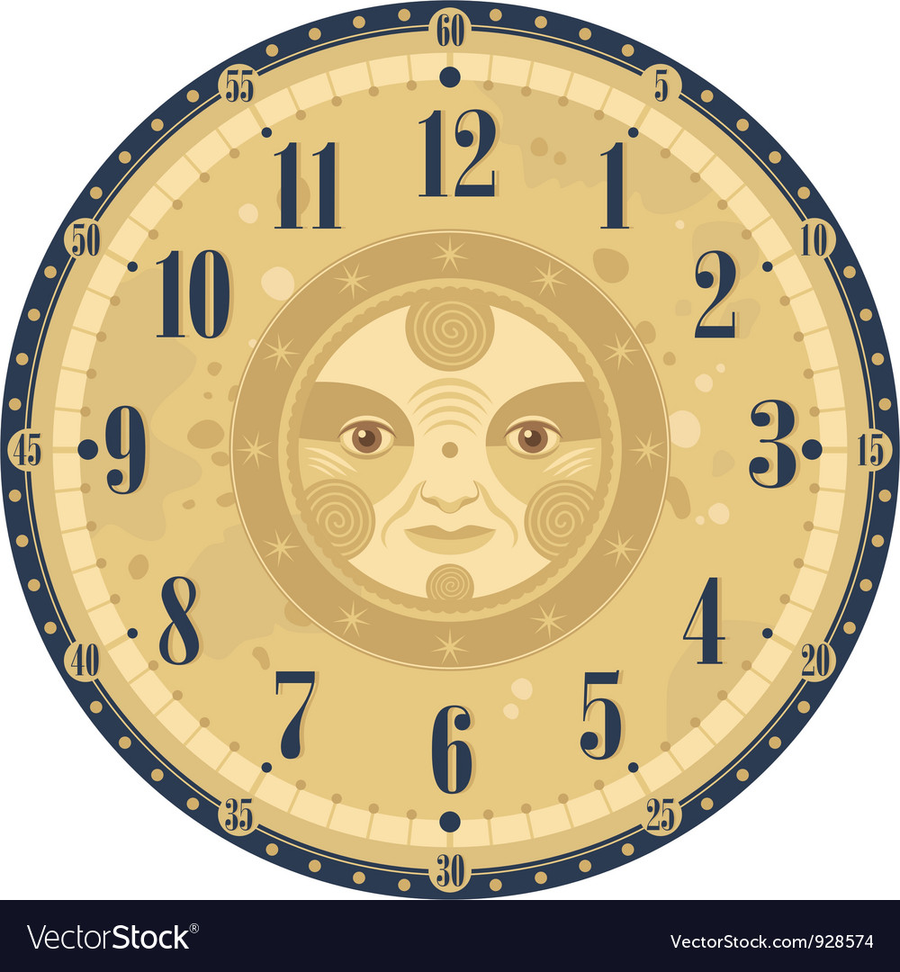 Vintage clock face vector