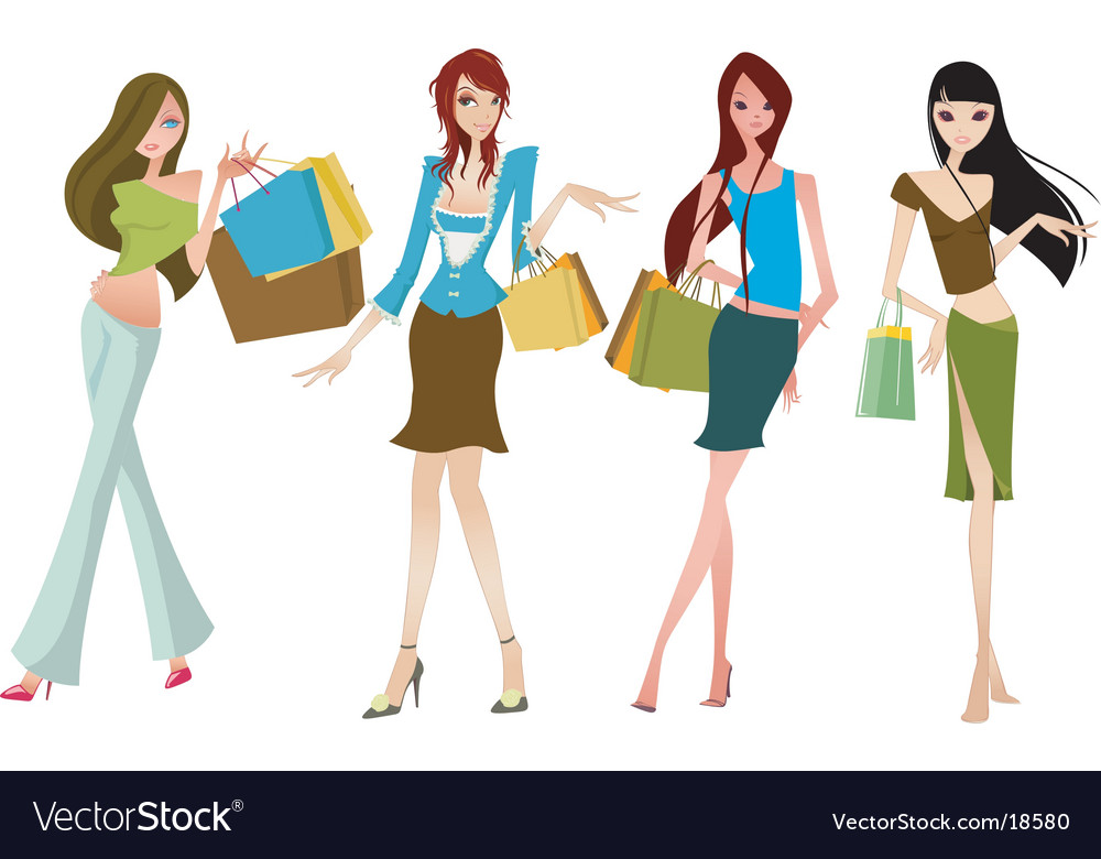 Chic shopping gals vector
