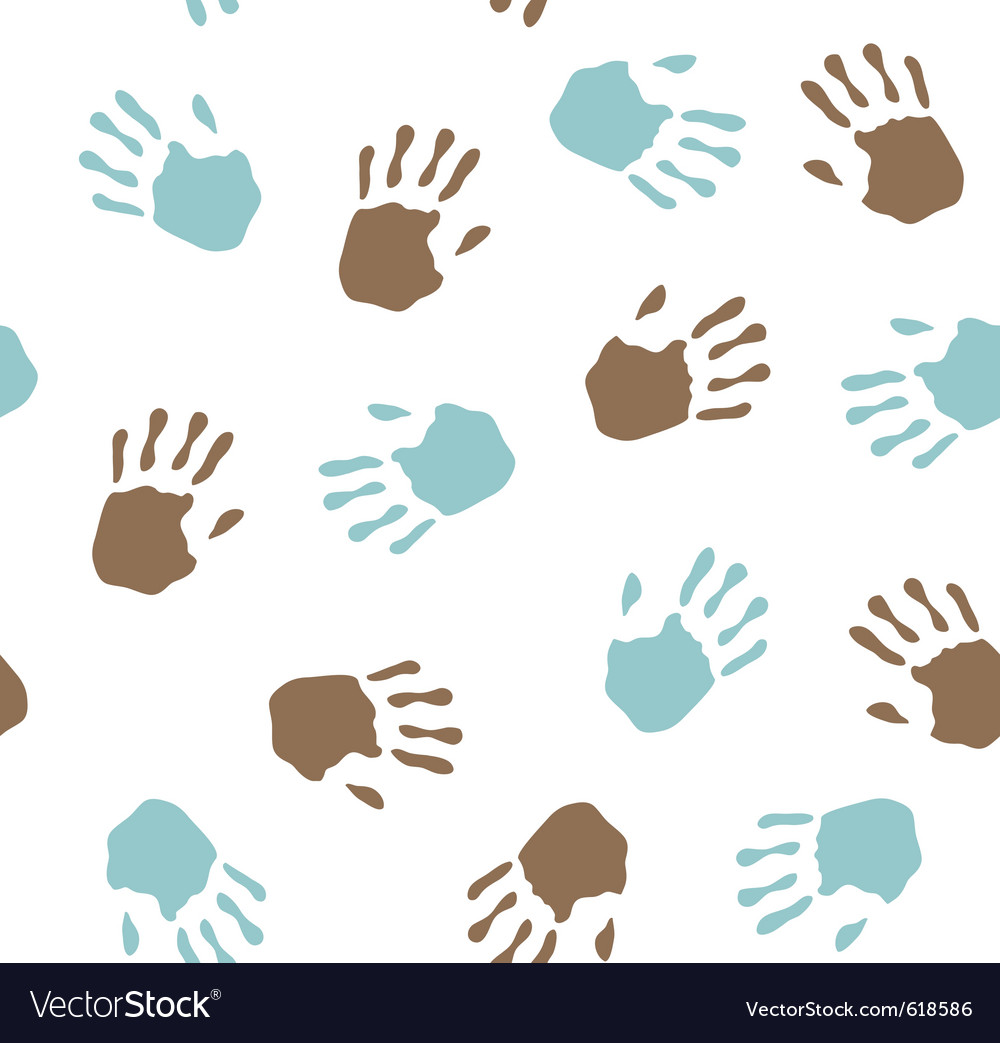 Seamless pattern  imprint hands vector