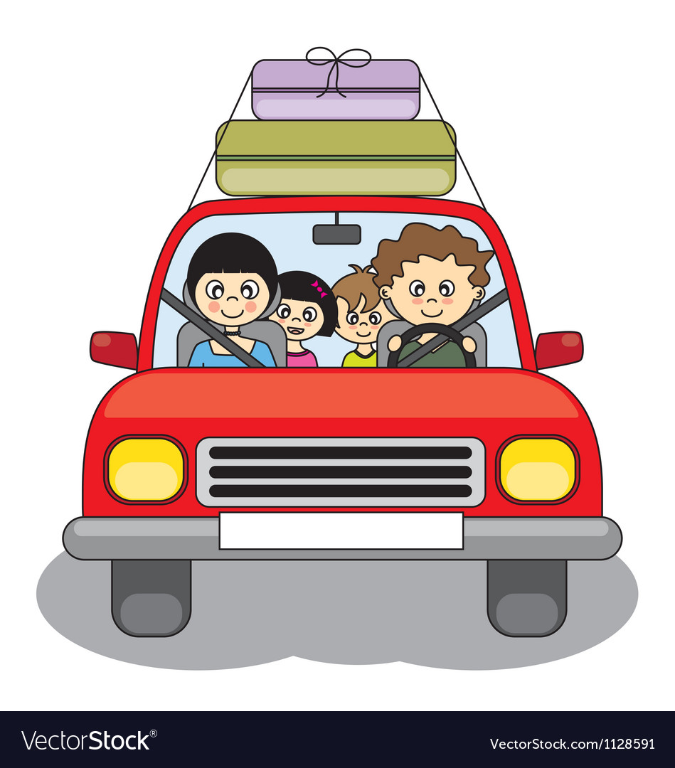 Family goes on holiday by car vector