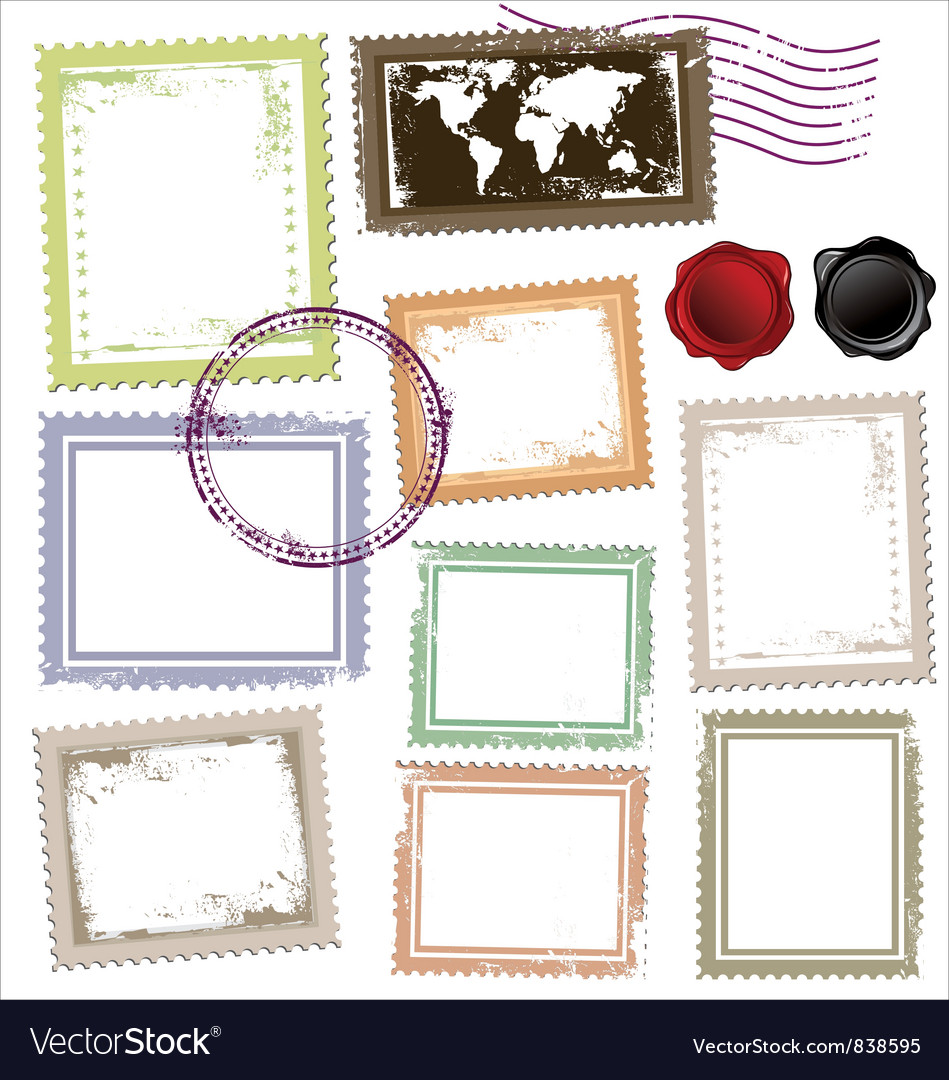 Vintage post stamps template vector