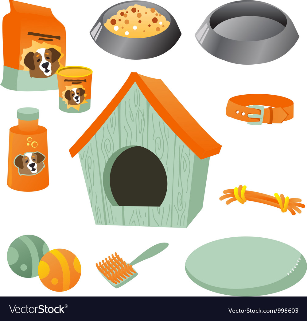 Dog care icon set vector