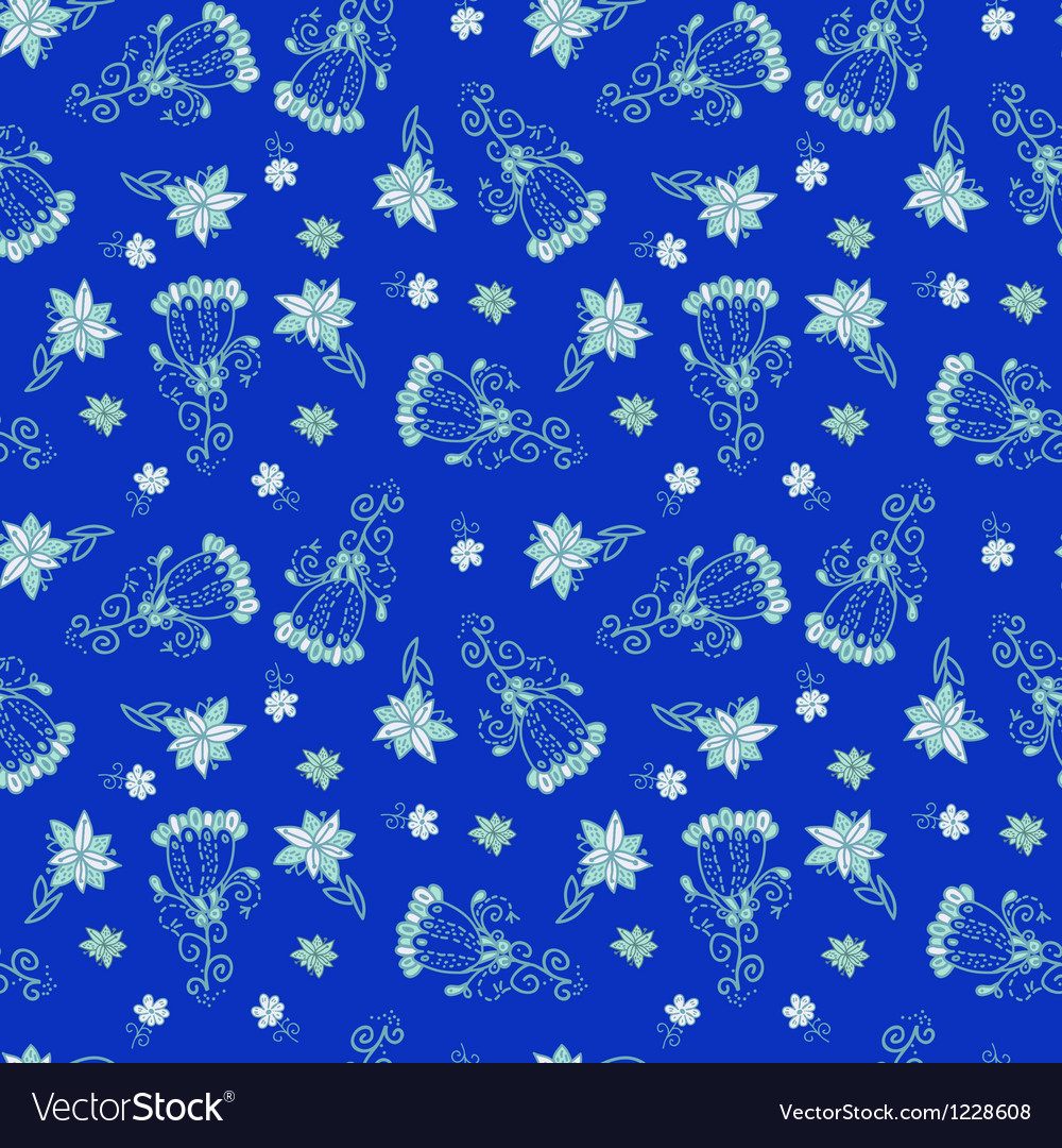 Vintage blue floral seamless pattern vector