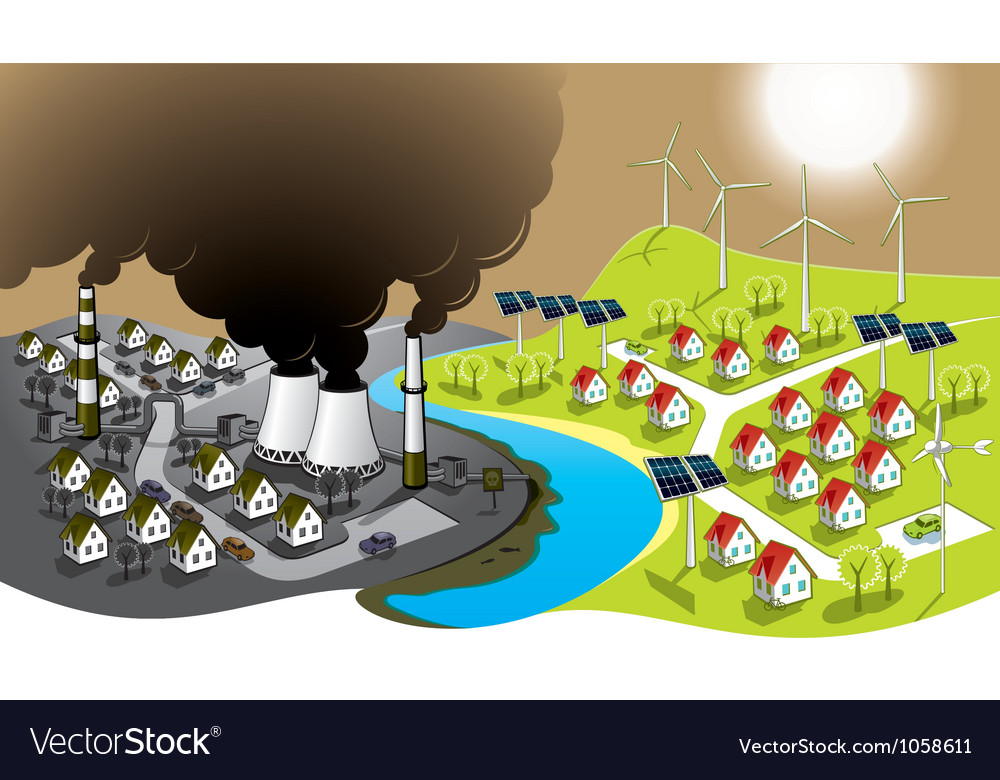 Ecofriendly city vector