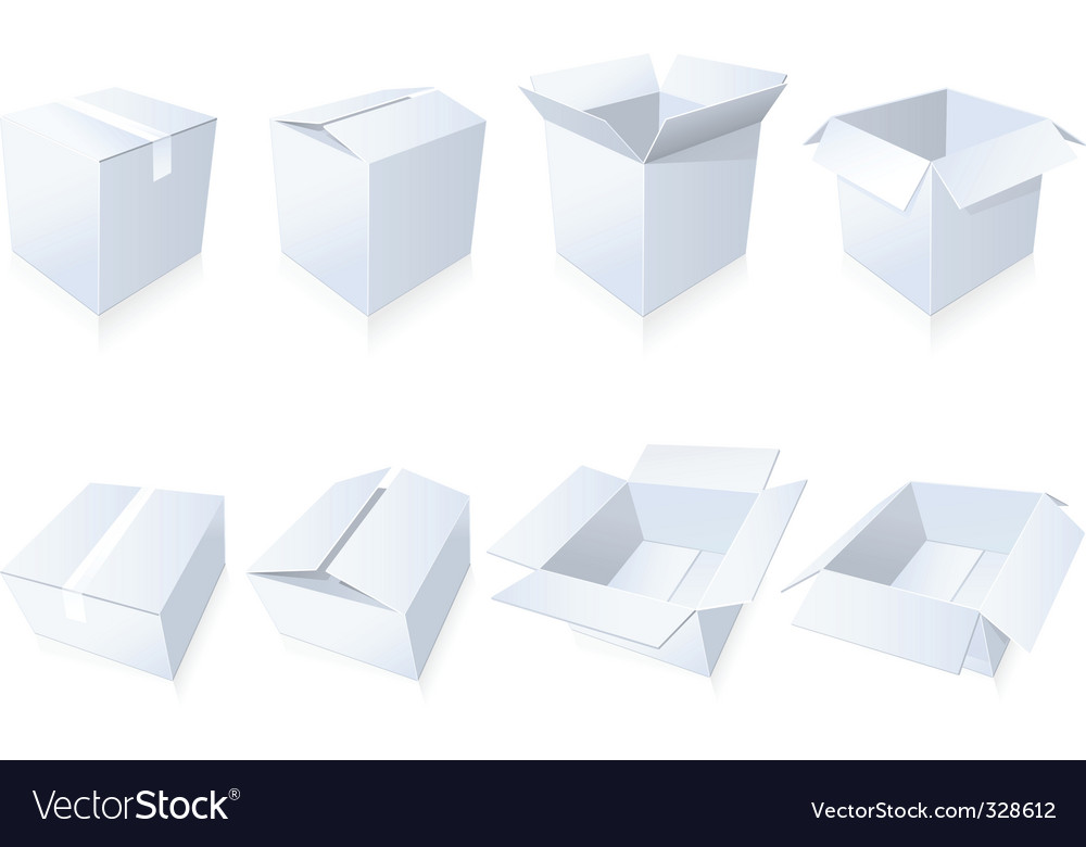 Blank cardboard boxes vector