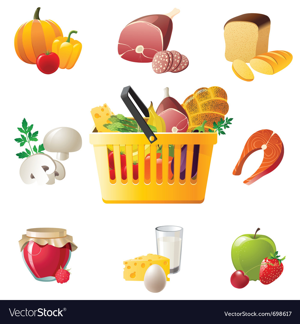 Shopping basket and highly detailed food icons vector