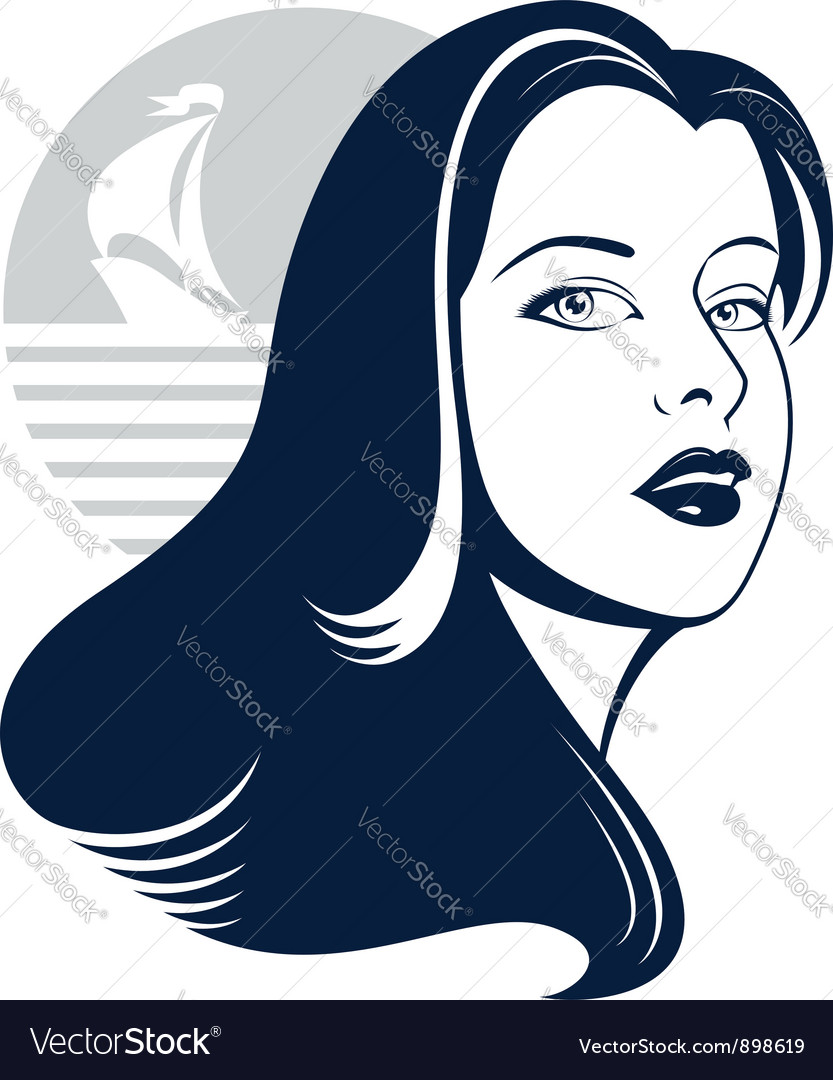 Sea girl with yacht silhouette vector