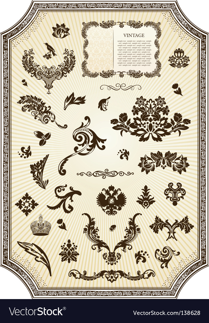 Floral vintage royal design element vector