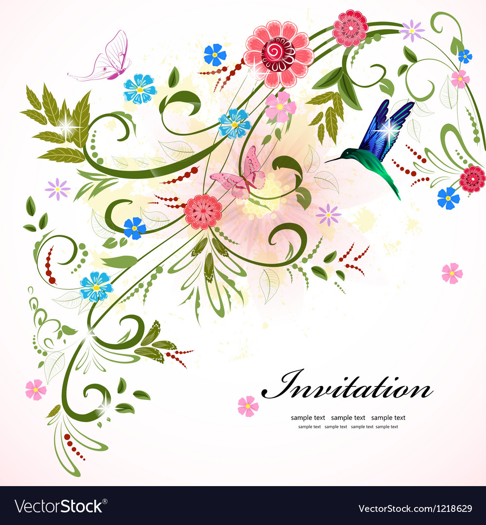 Invitation flower vector