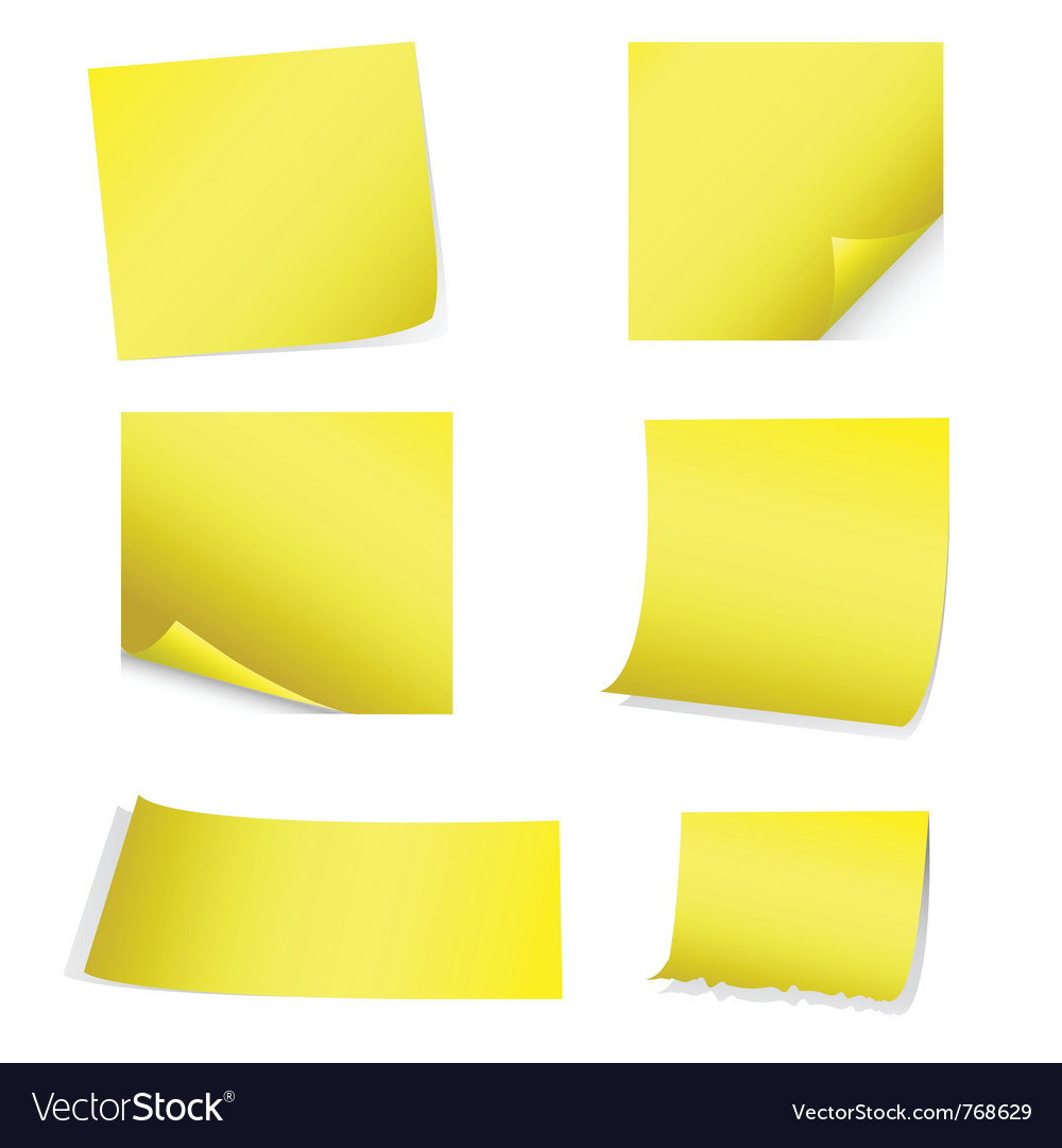 Yellow postit set vector
