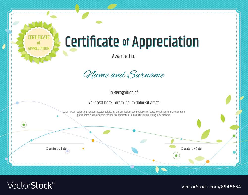 certificate of appreciation template nature theme vector