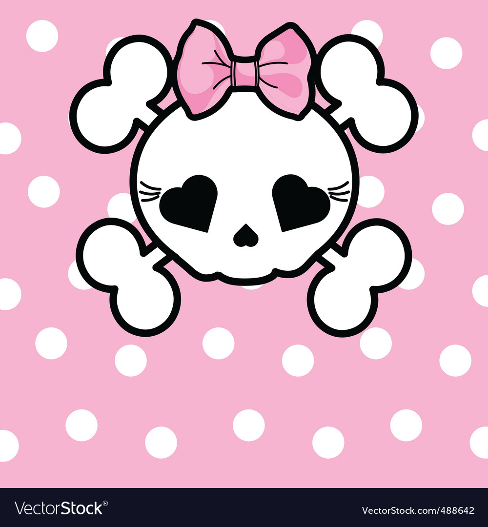 Cute skull with bow vector