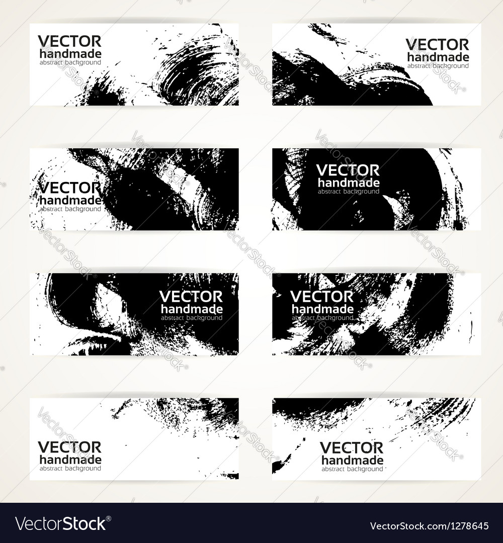 Set of abstract black drawn by brush banner vector