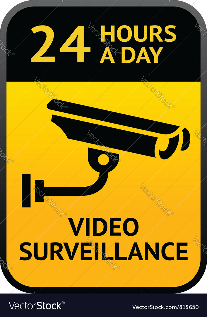 Video surveillance sign vector