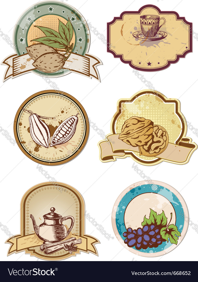 Set of hand drawn food and drink labels vector