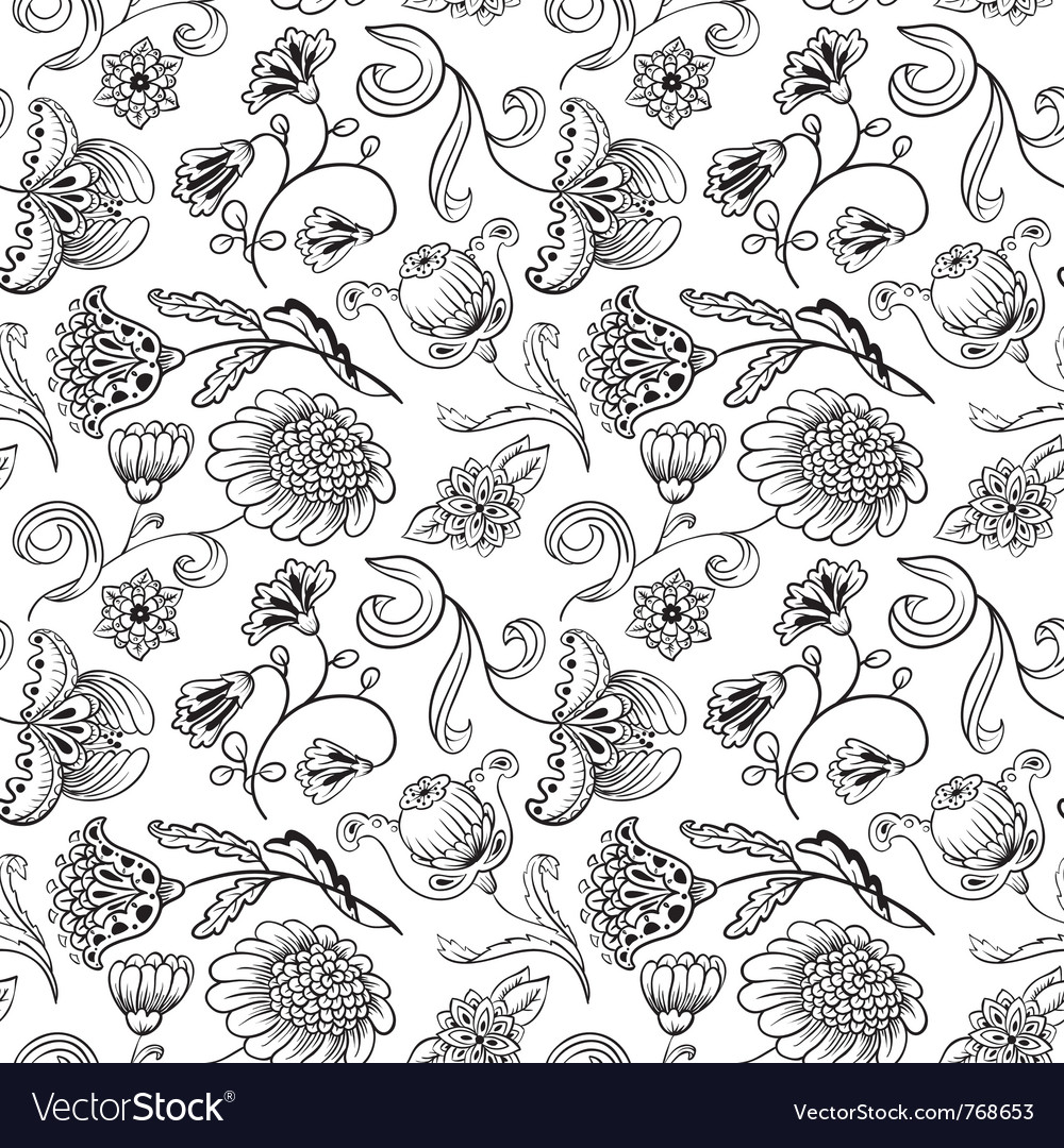 Floral black and white seamless pattern vector