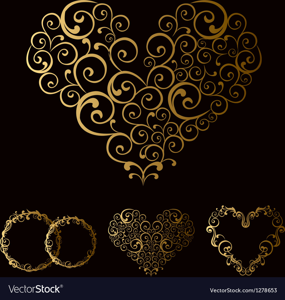 Tracery wedding love heart vector
