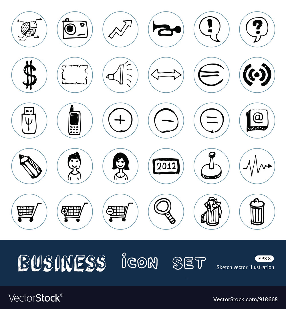 Business media icons vector