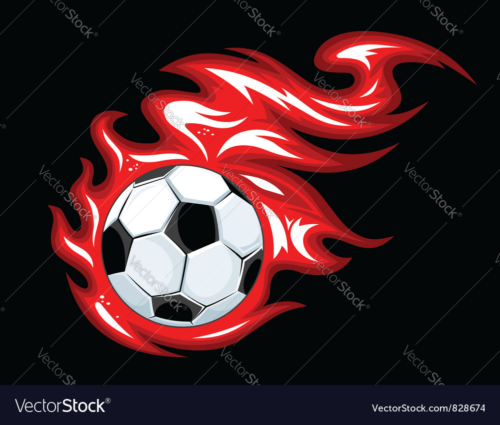 Soccer flame symbol vector