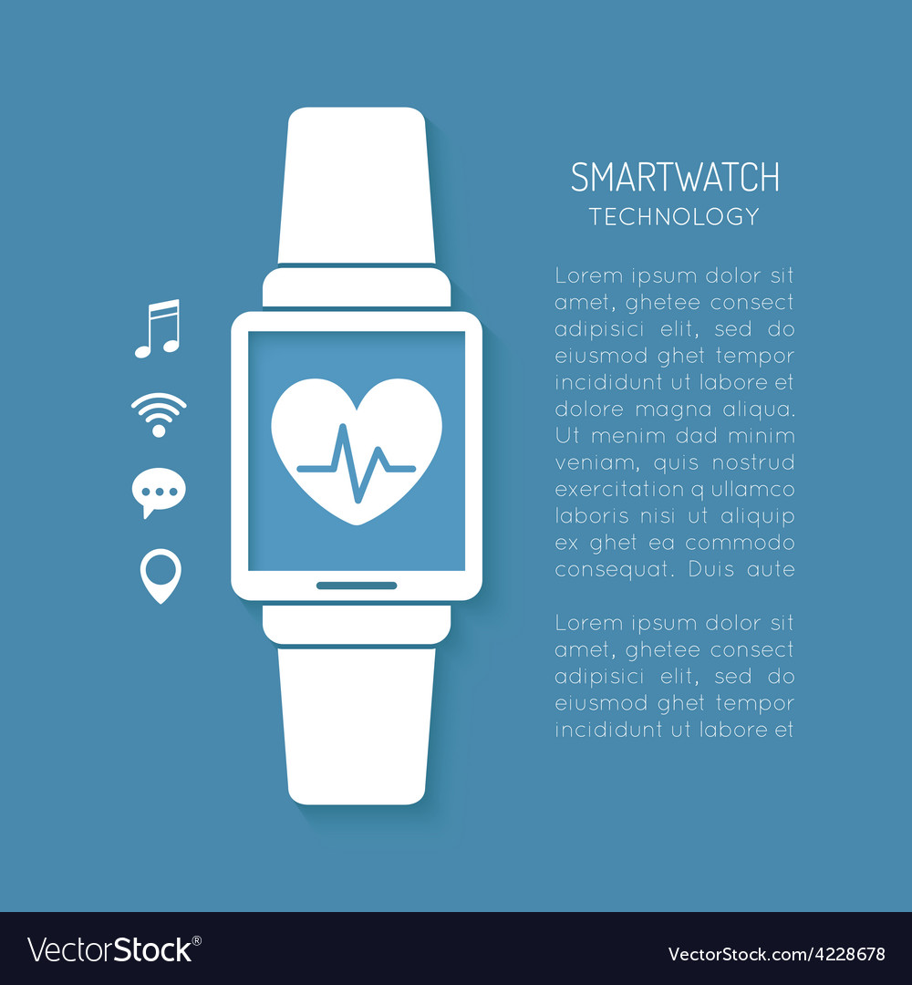 Wearable technology symbol with heartbeat tracker