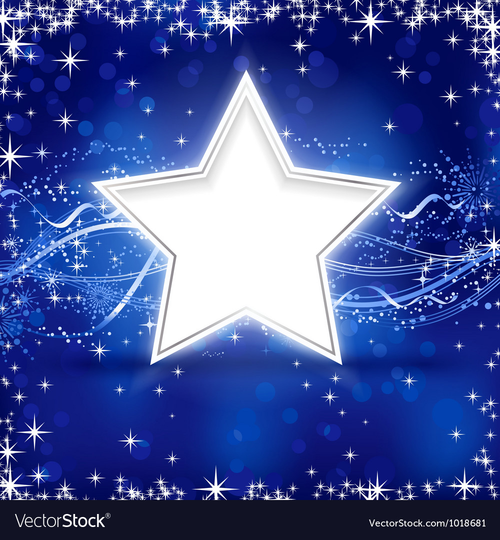 Blue silver christmas star background vector