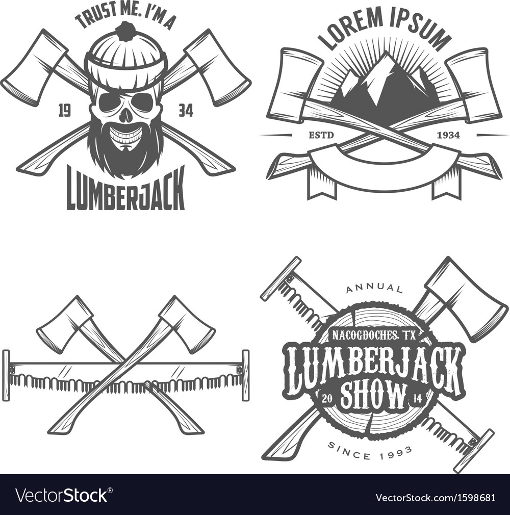 Set of vintage lumberjack design elements vector