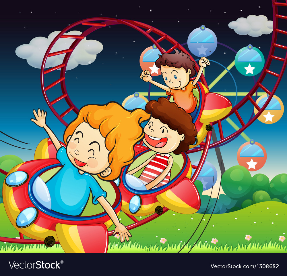Three kids riding in a roller coaster vector