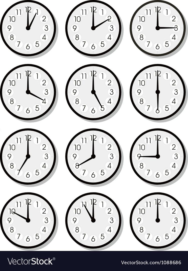 Clock faces vector by rusak - Image #1088686 - VectorStock