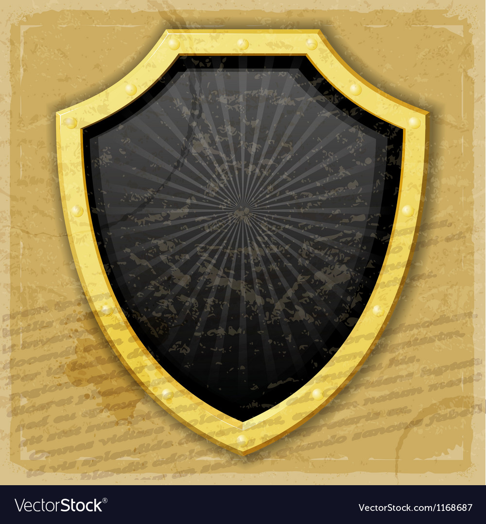 A golden shield on the vintage background vector