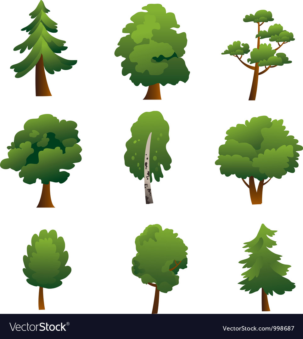Set of trees  summer vector