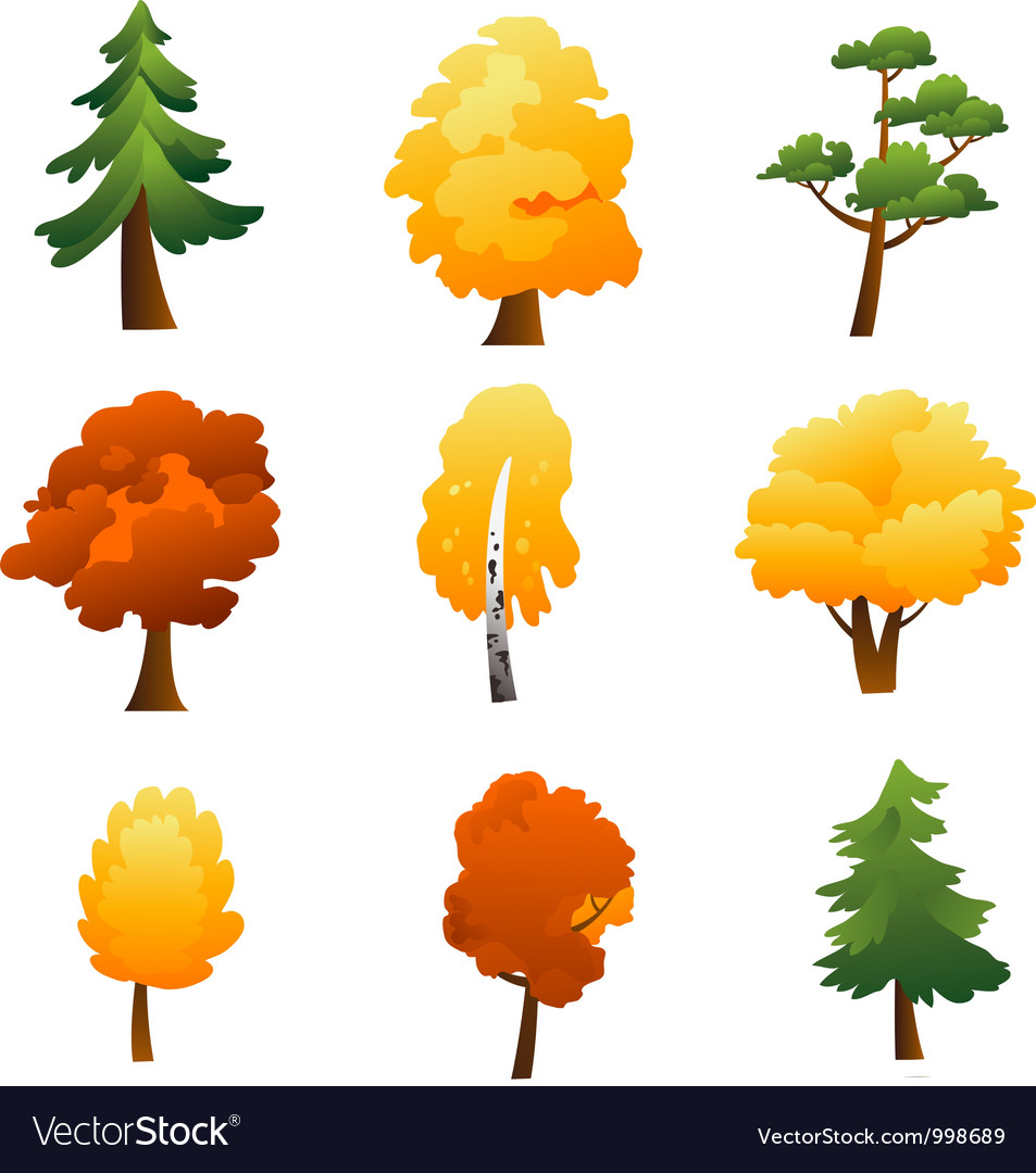 Set of trees  autumn vector