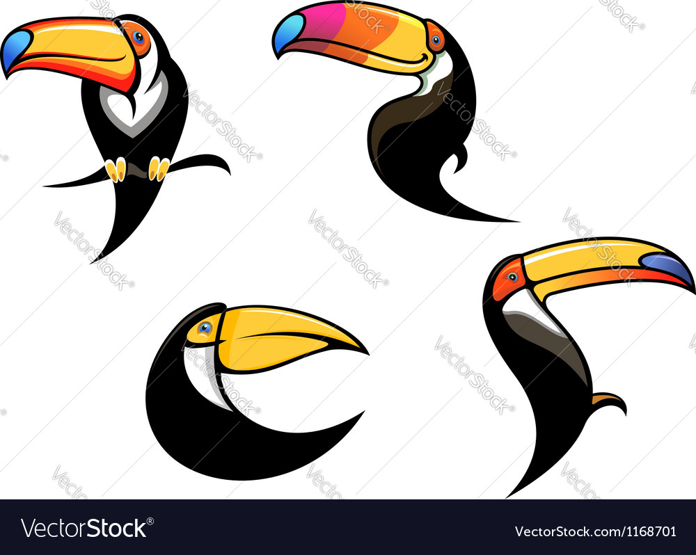 Funny toucan mascots and symbols vector